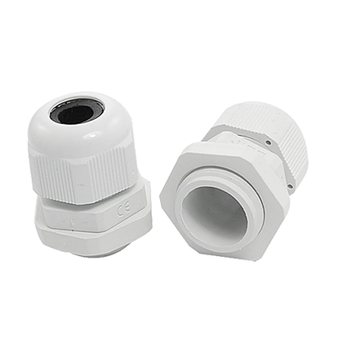 PG21 2 Pcs White Plastic Waterproof Cable Glands Adapters