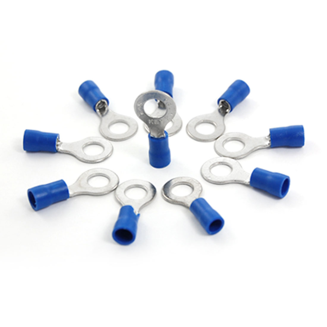 10 Pcs Blue PVC Sleeve Pre Insulated Ring Terminals RV2-6