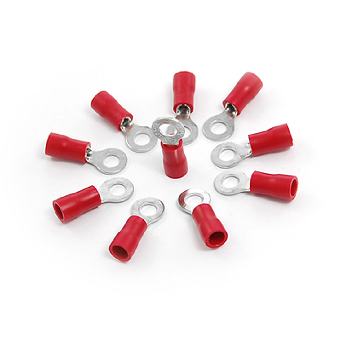 10 Pcs Red PVC Sleeve Pre Insulated Ring Terminals RV1.25-4L