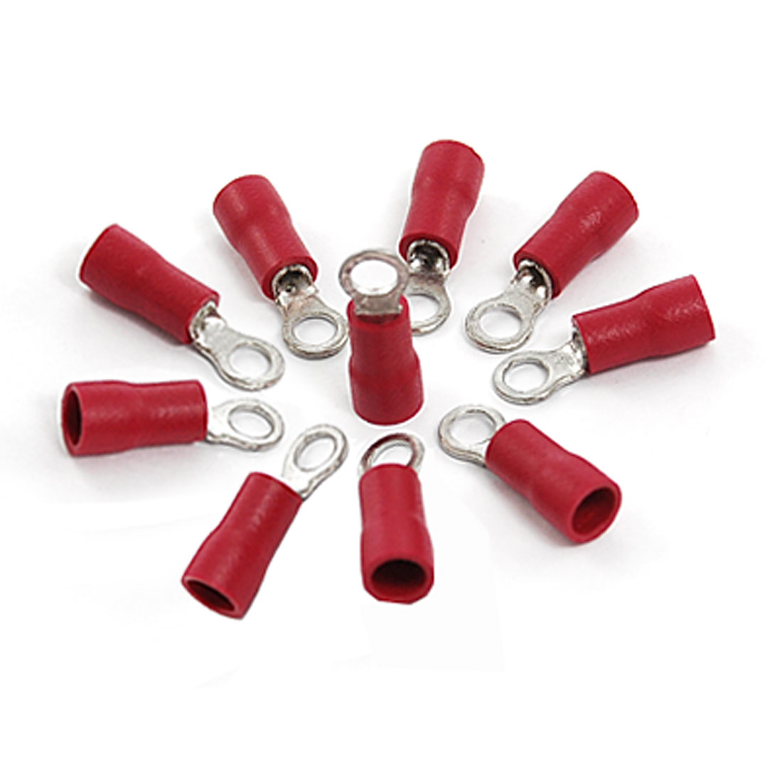 RV1.25-3.2 Red PVC Sleeve Insulated Ring Tongue Terminals 10 Pcs
