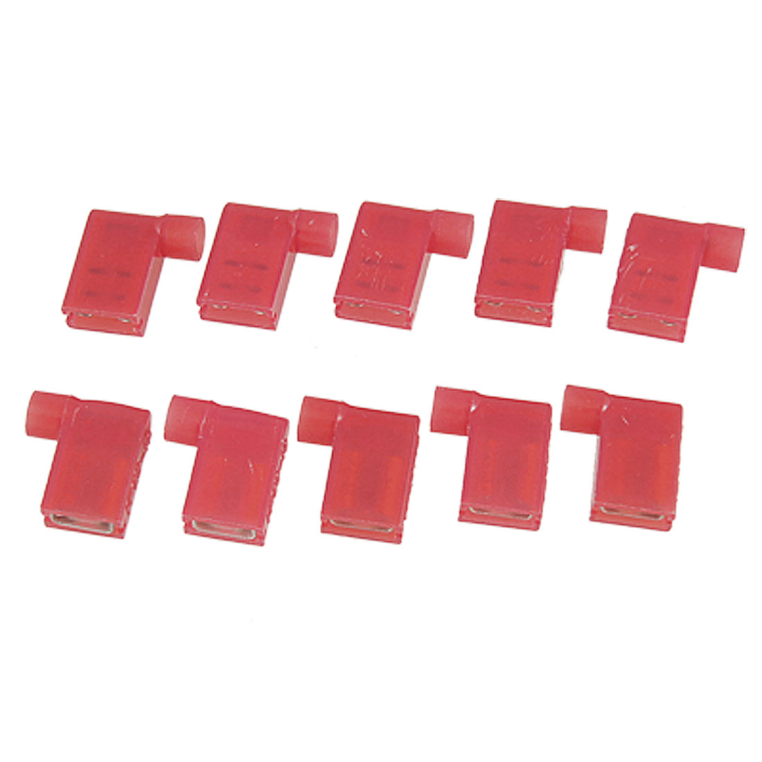 10 Pcs AWG 22-18 Full Insulated Female Spade Crimp Flag Connector Terminal Red FLDNY 1-250