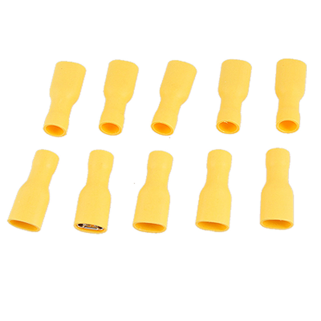 10 Pcs Yellow Plastic Fully Insulated Female Spade Crimp Connectors FDFD 5-250