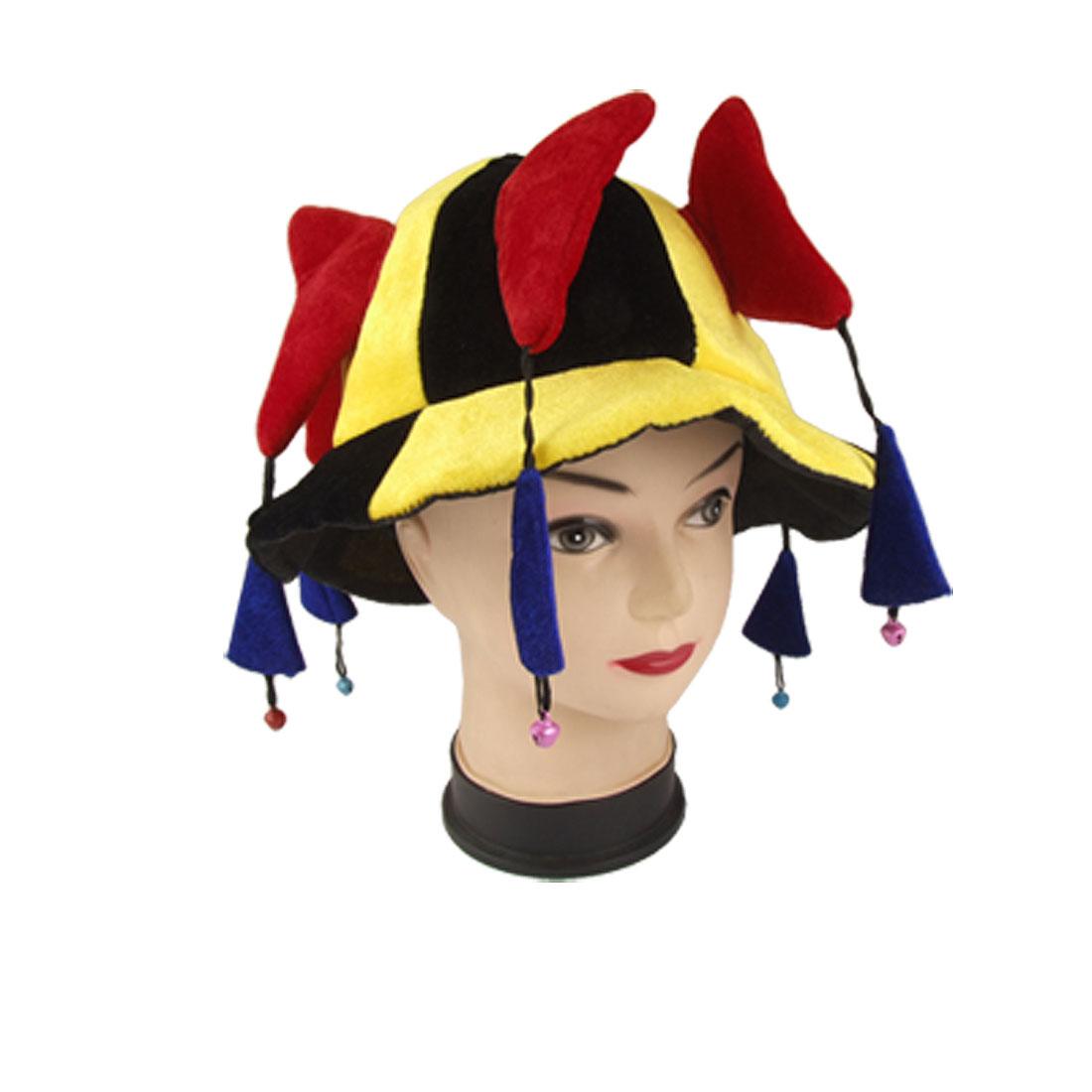 Halloween 4 Color Multi Horned Plush Clown Jester Hat w Bell