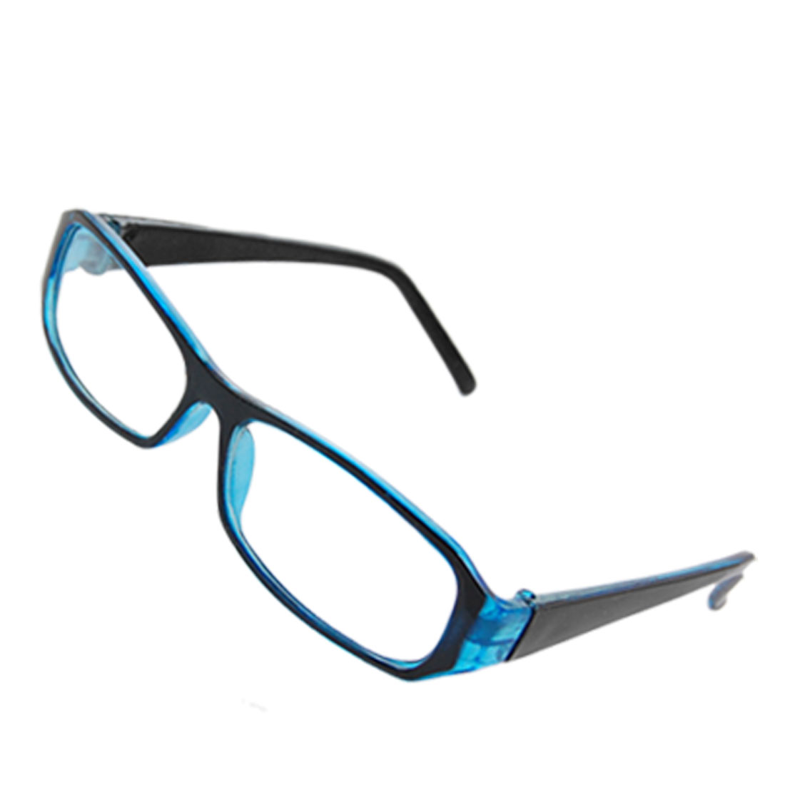 Ladies Blue Black Frame Full Rim Rectangle Lens Plano Glasses