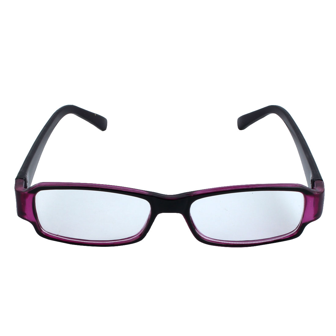 Ladies Black Purple Rectangular Frame Plastic Arms Plain Glasses