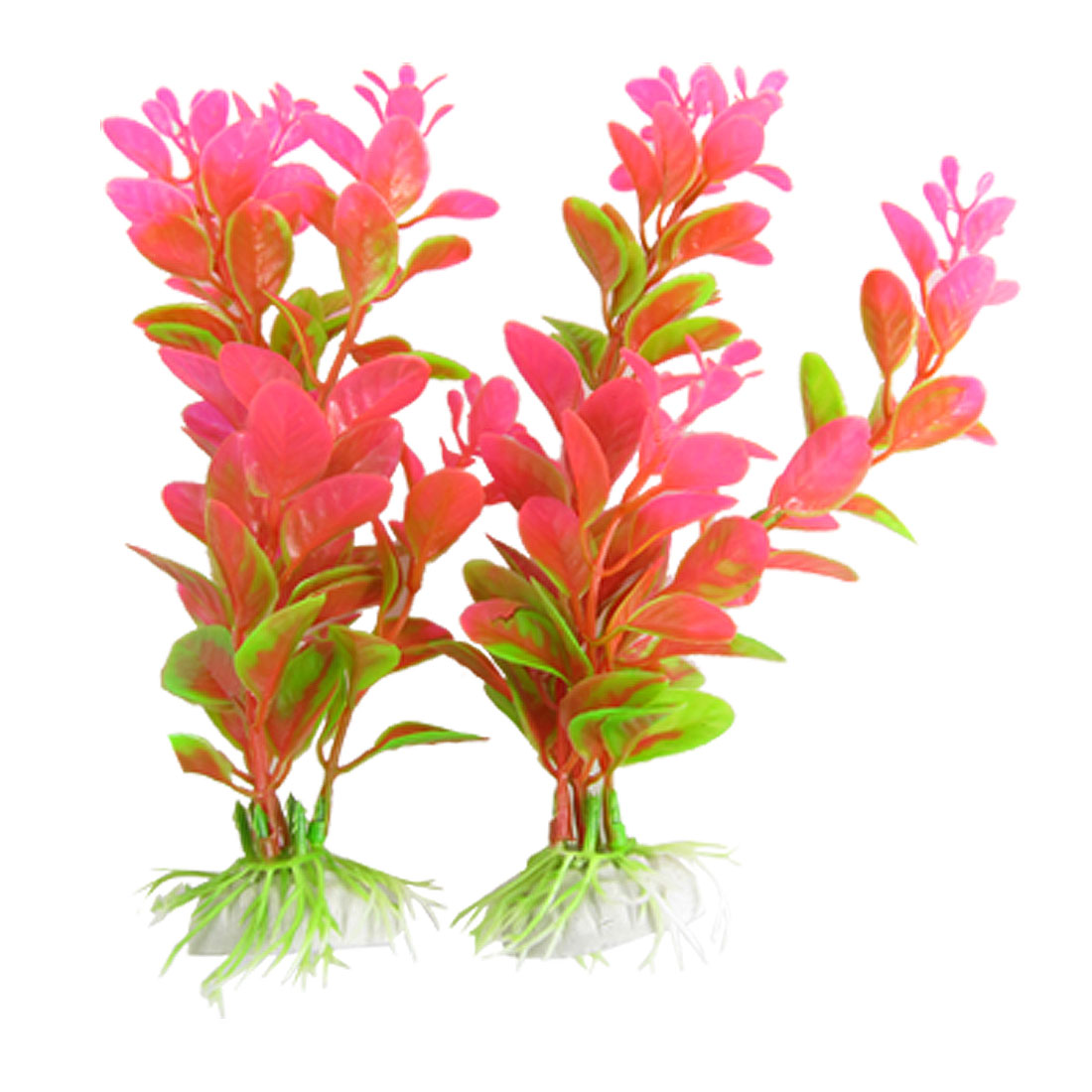 2 Pcs Hot Pink Green Plastic Aquatic Grass Decor for Fish Tank