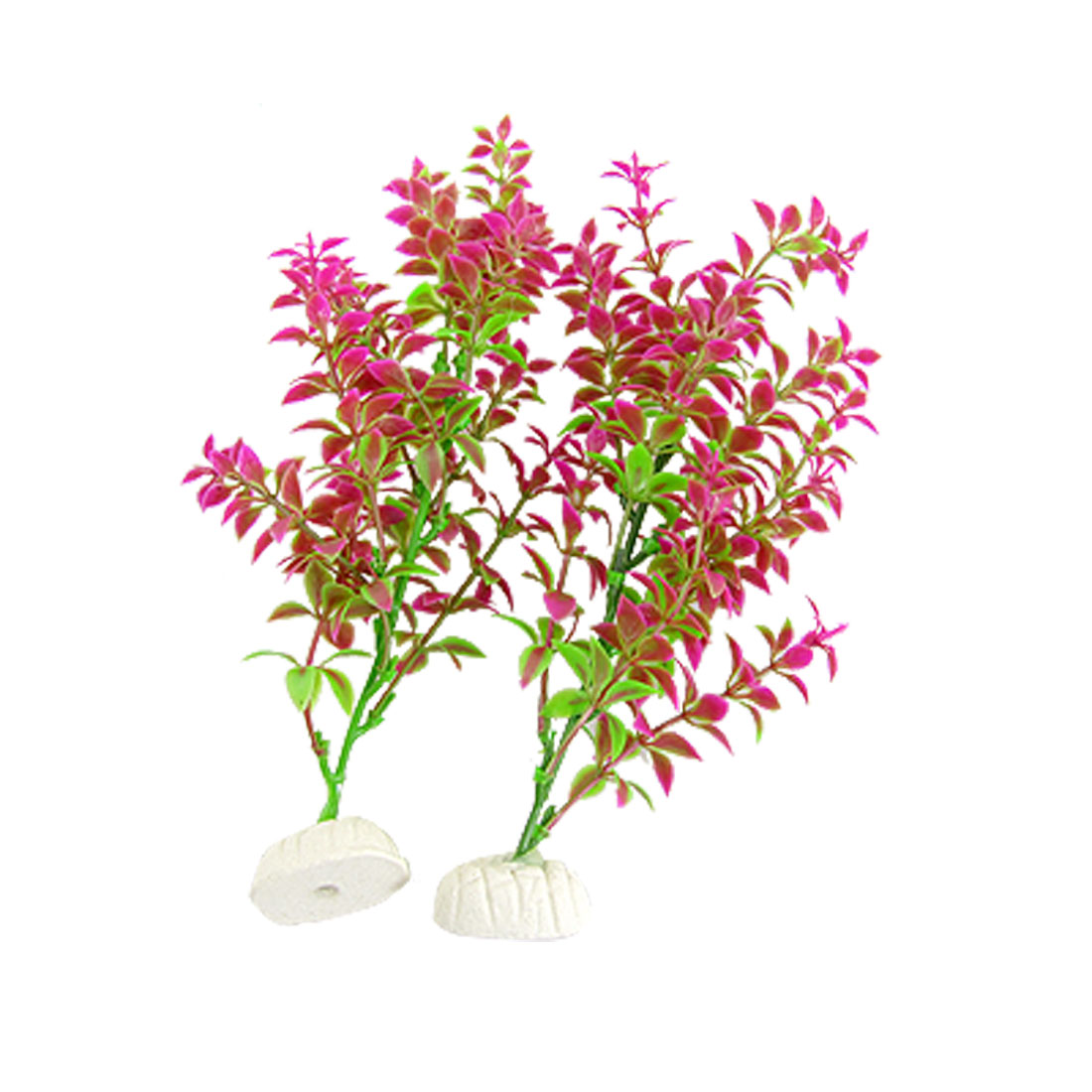2 Pcs Fuchsia Green Plastic Plants Grass Decor for Aquarium