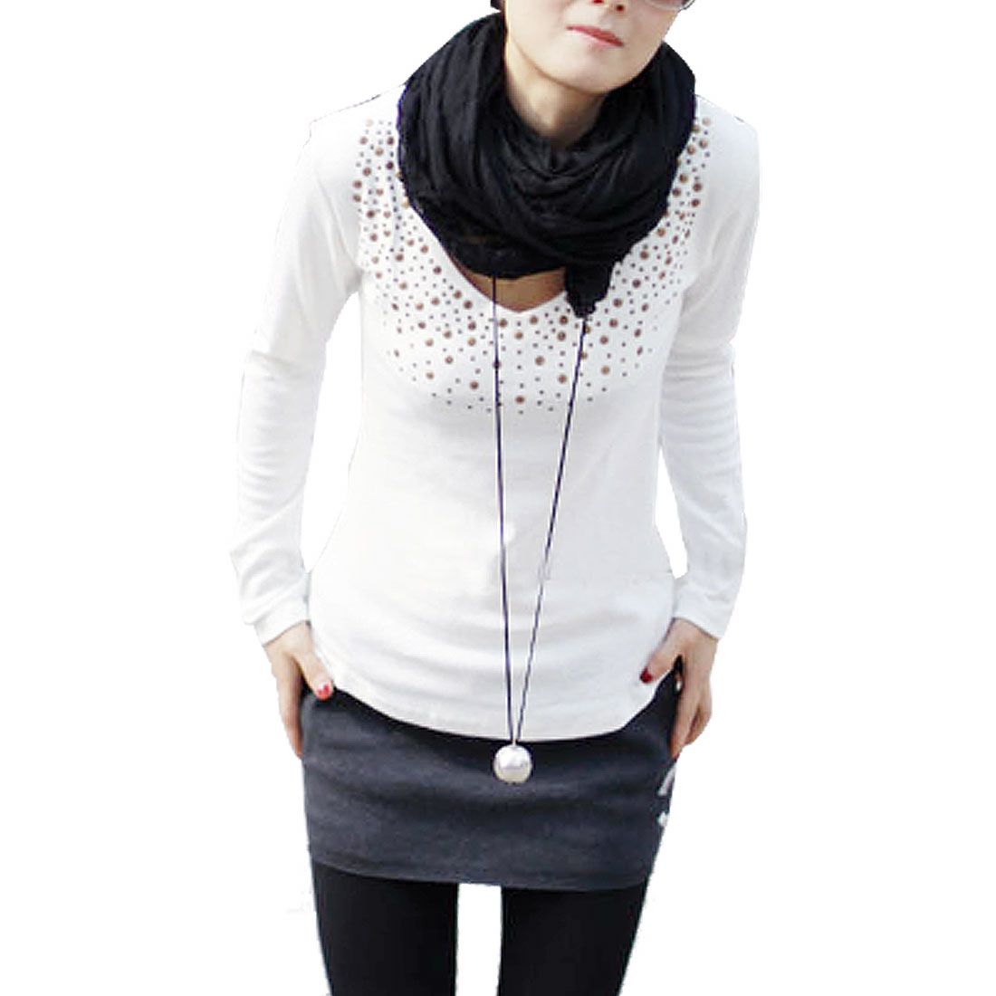 Stud Decor V Neck Long Sleeves White Shirt XS for Lady