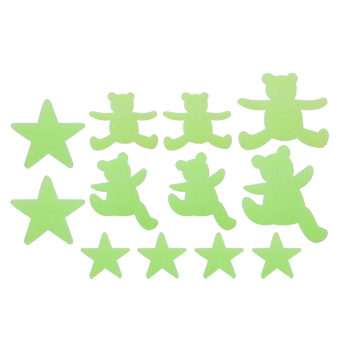 Home Wall Glow in the Dark Green Star Bear Fluorescent Sticker 12 Pcs