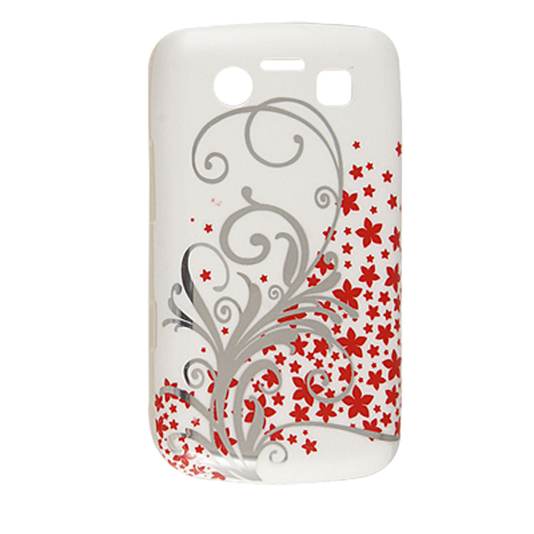 Red Floral Silver Tone Leaves Pattern Plastic IMD Back Cover for Blackberry 9700 9020