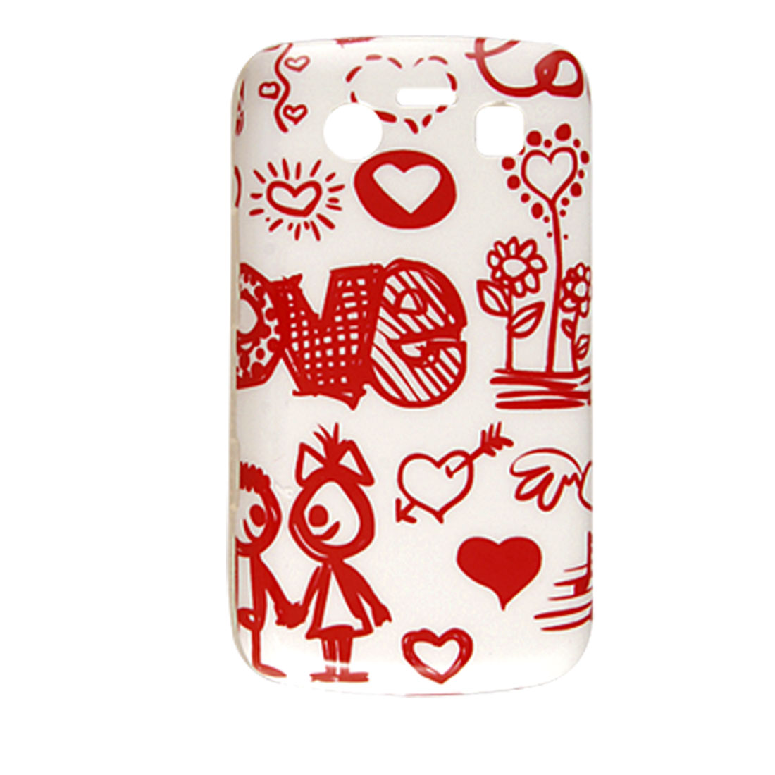 Red Cartoon Print Plastic IMD White Back Cover for Blackberry 9700 9020