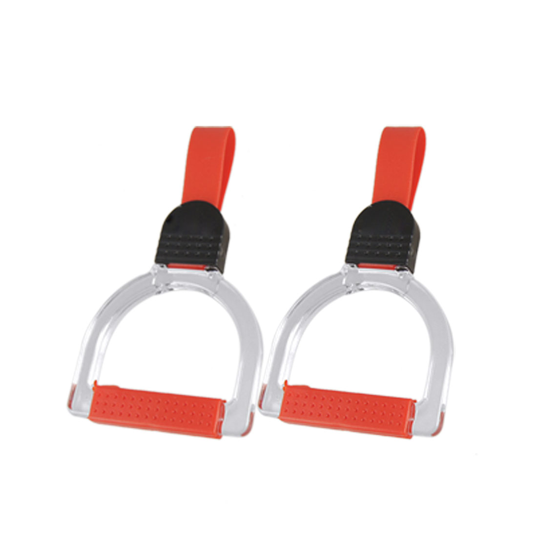 Trolley Bus Nonslip Hand Grips Handle Red Clear 2 Pcs