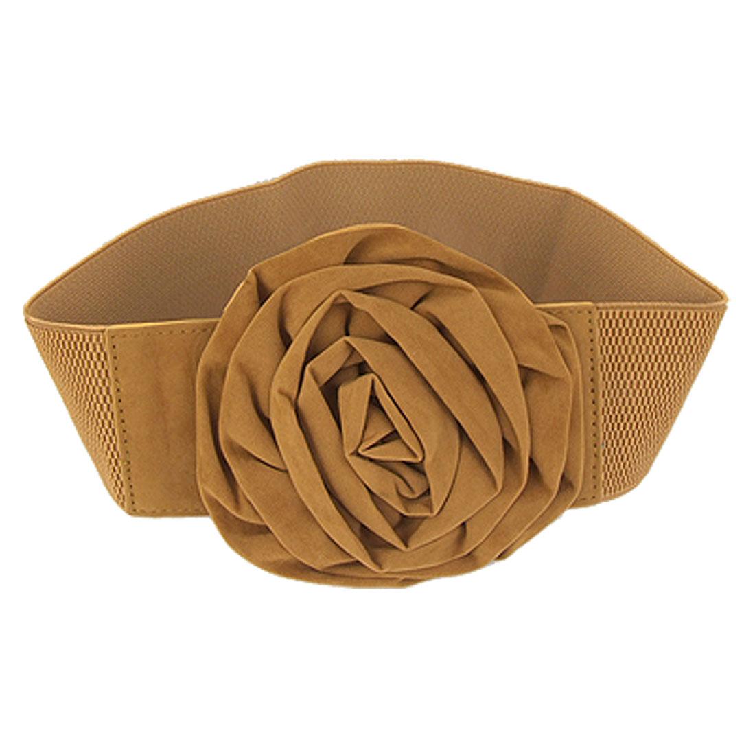 Flannel Rose Decor Interlock Closure Elastic Brown Waist Belt for Lady