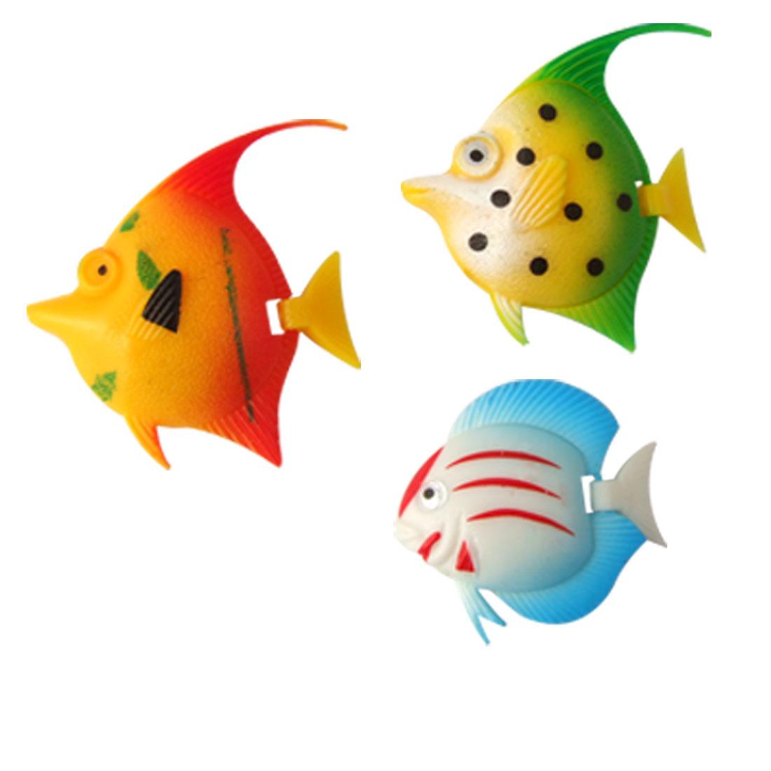 Colorful Hard Plastic Fish Decor 3 Pcs for Fish Tank