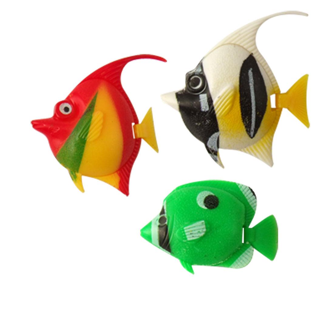 3 Pcs Multicolor Hard Plastic Tropical Fish for Aquarium