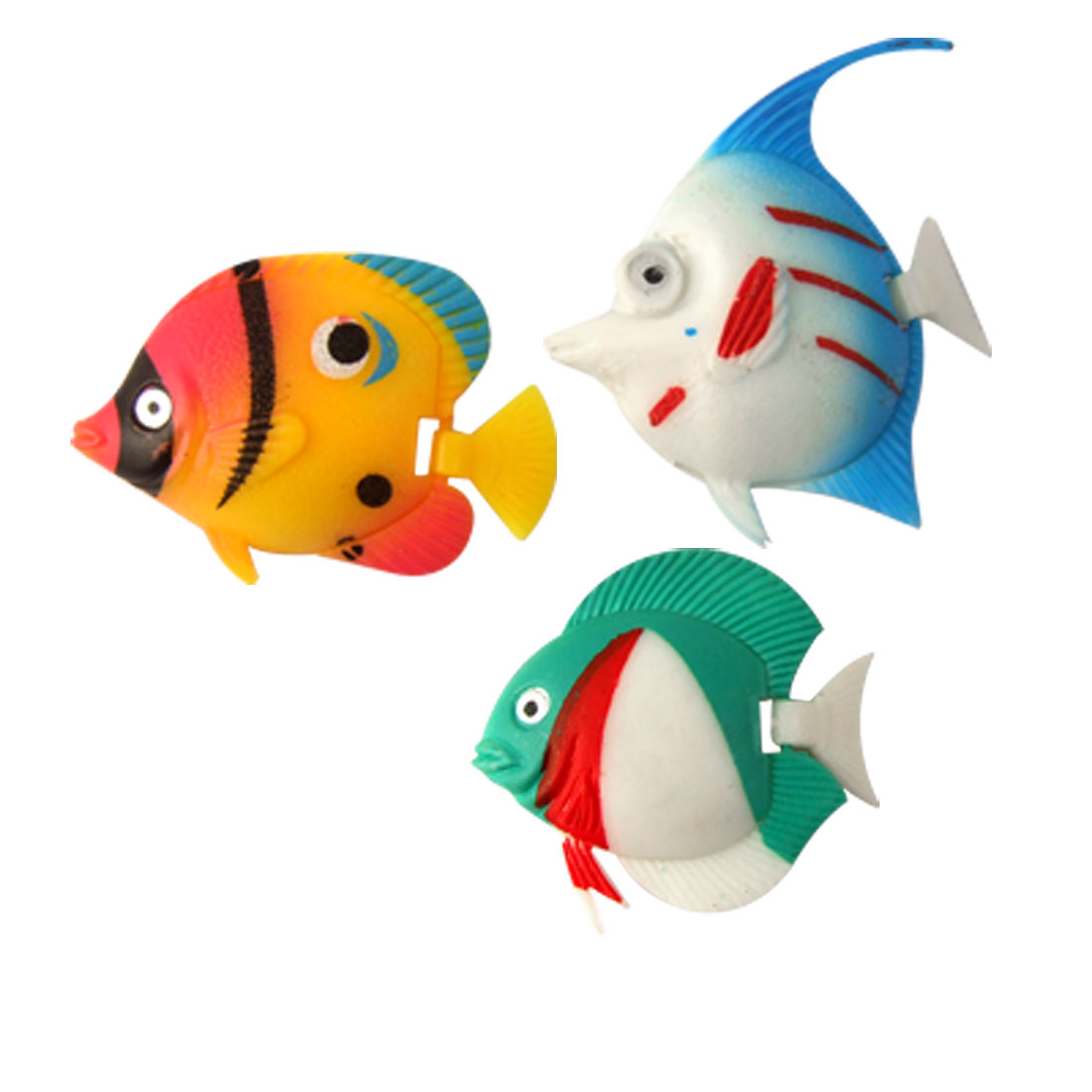 Aquarium 3 Pcs Colorful Hard Plastic Tropical Fish Decor