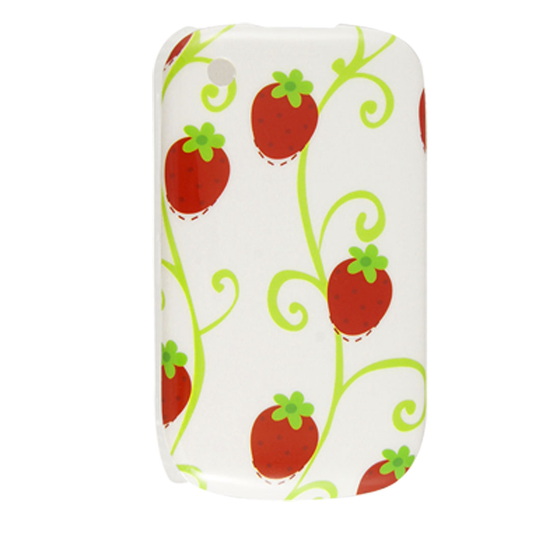 Red Strawberry Prints White IMD Hard Plastic Back Case for BlackBerry 8520