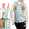 Sequin Mock Pocket Striped White Teal Buttoned Shirt for Lady XS