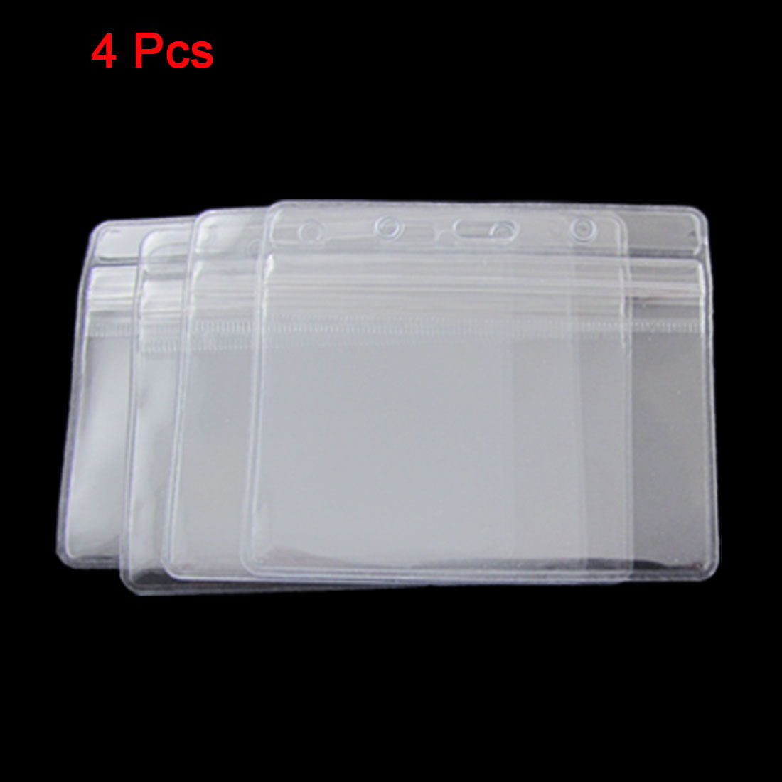 4 Pcs Clear PVC Working Horizontal ID Badge Card Holders
