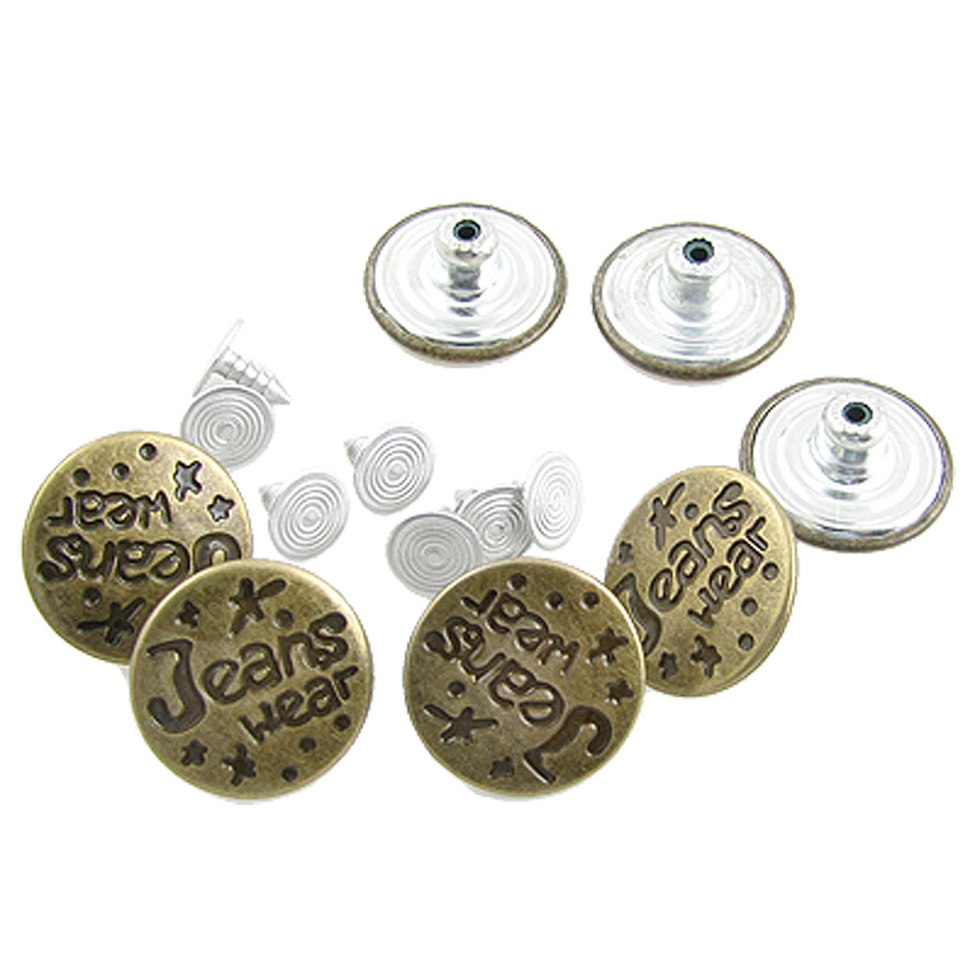 Trousers Jeans Replacement 7 Pcs Bronze Tone Buttons