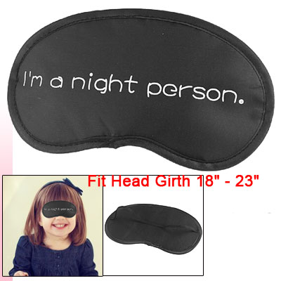 White Letter Print Elastic Band Sleeping Eye Mask Black