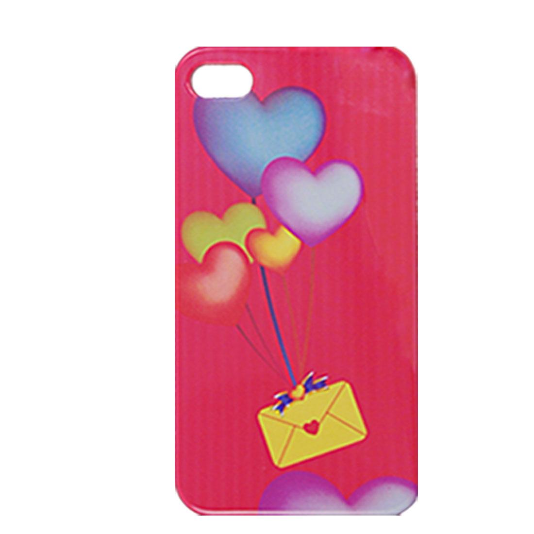 Heart Print Plastic IMD Magenta Back Case for iPhone 4 4G