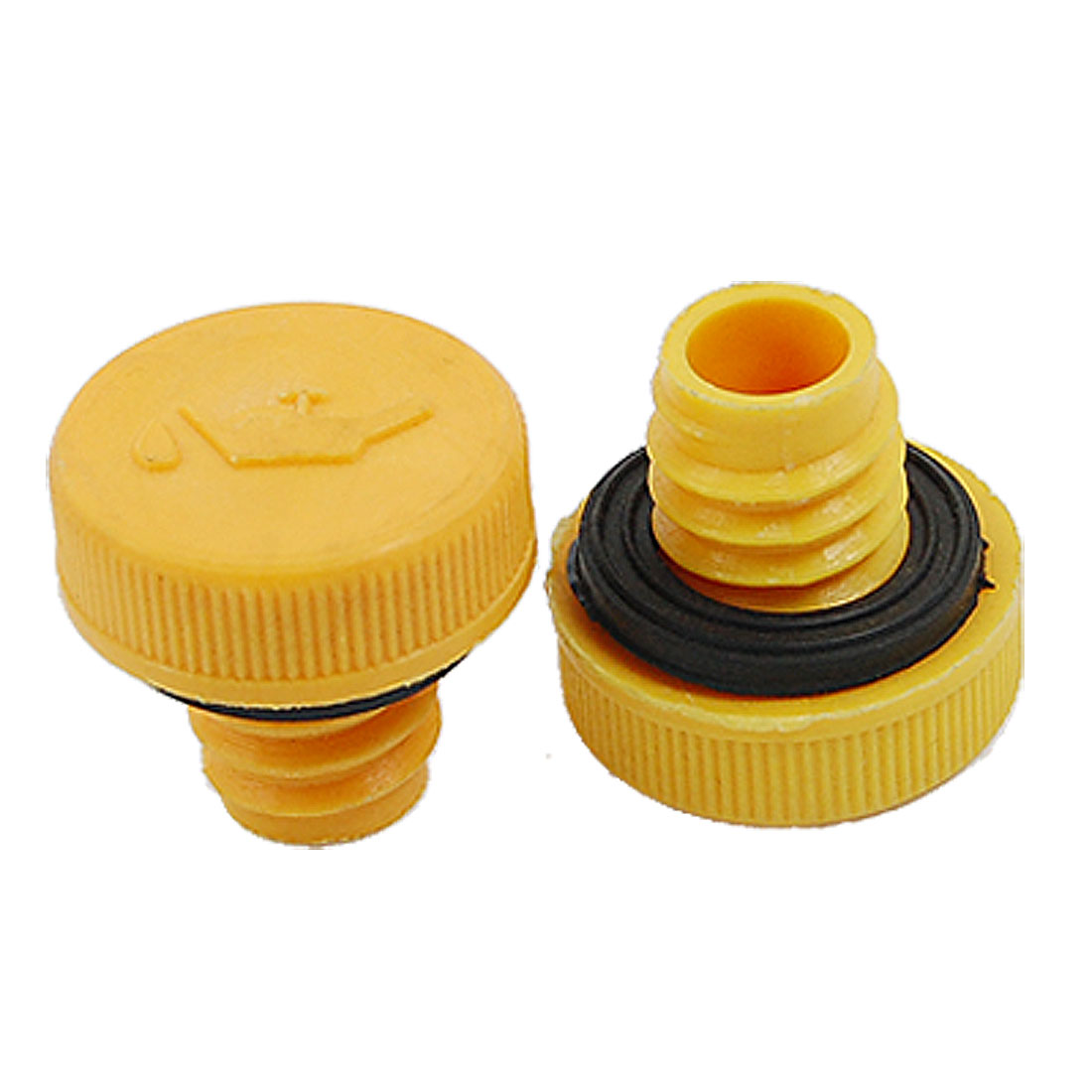 "Yellow Orange Air Compressor 0.57"" Outer Thread Plastic Oil Connector 2 Pcs"