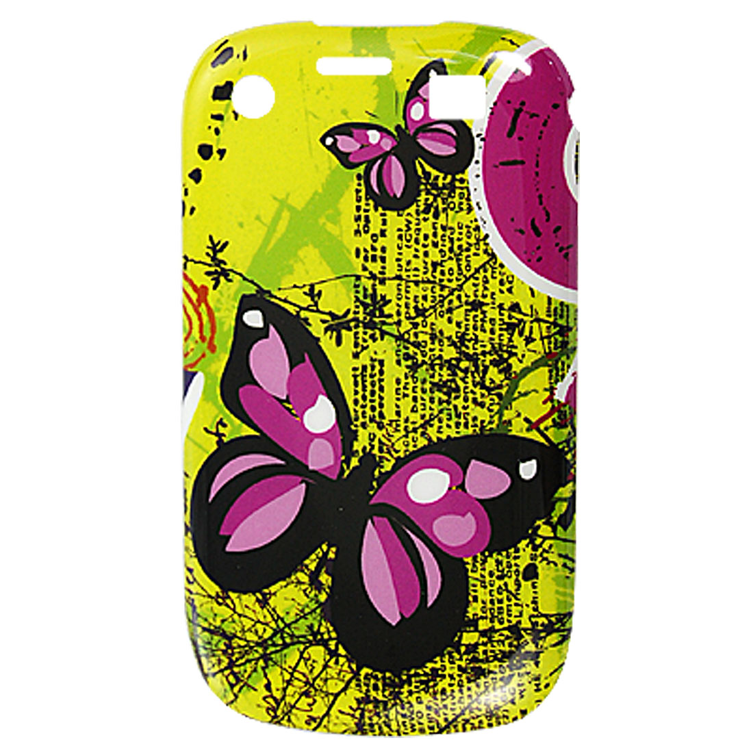 Fuchsia Black Butterfly Print Plastic IMD Back Case for Blackberry 9700 9020