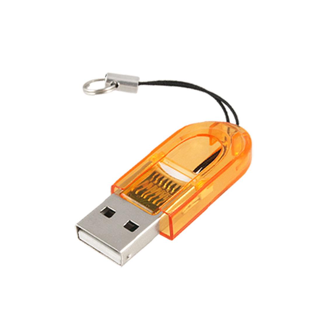 Orange Plastic Thumb Shape Shell T-Flash TF Memory Card Mini Reader