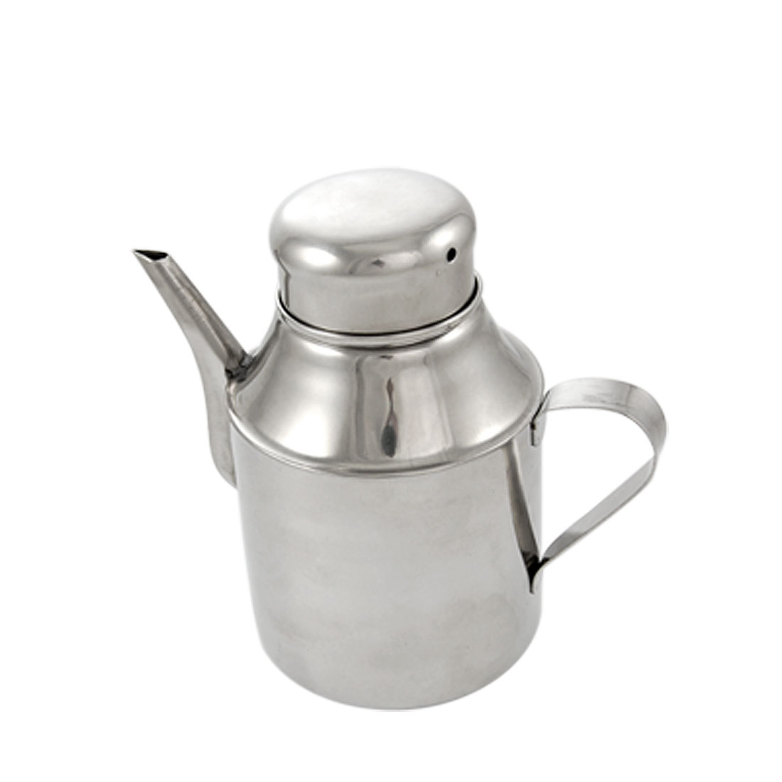 13oz Lidded Shanked Silver Tone Stainless Steel Oil Pot Oilcan