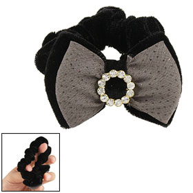 Rhinestone Decor Double Layer Bowknot Black Velvet Ponytail Holder