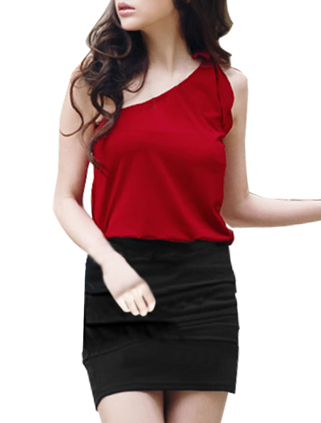 Ladies Single Shoulder Red Black Stretchy Dress XS