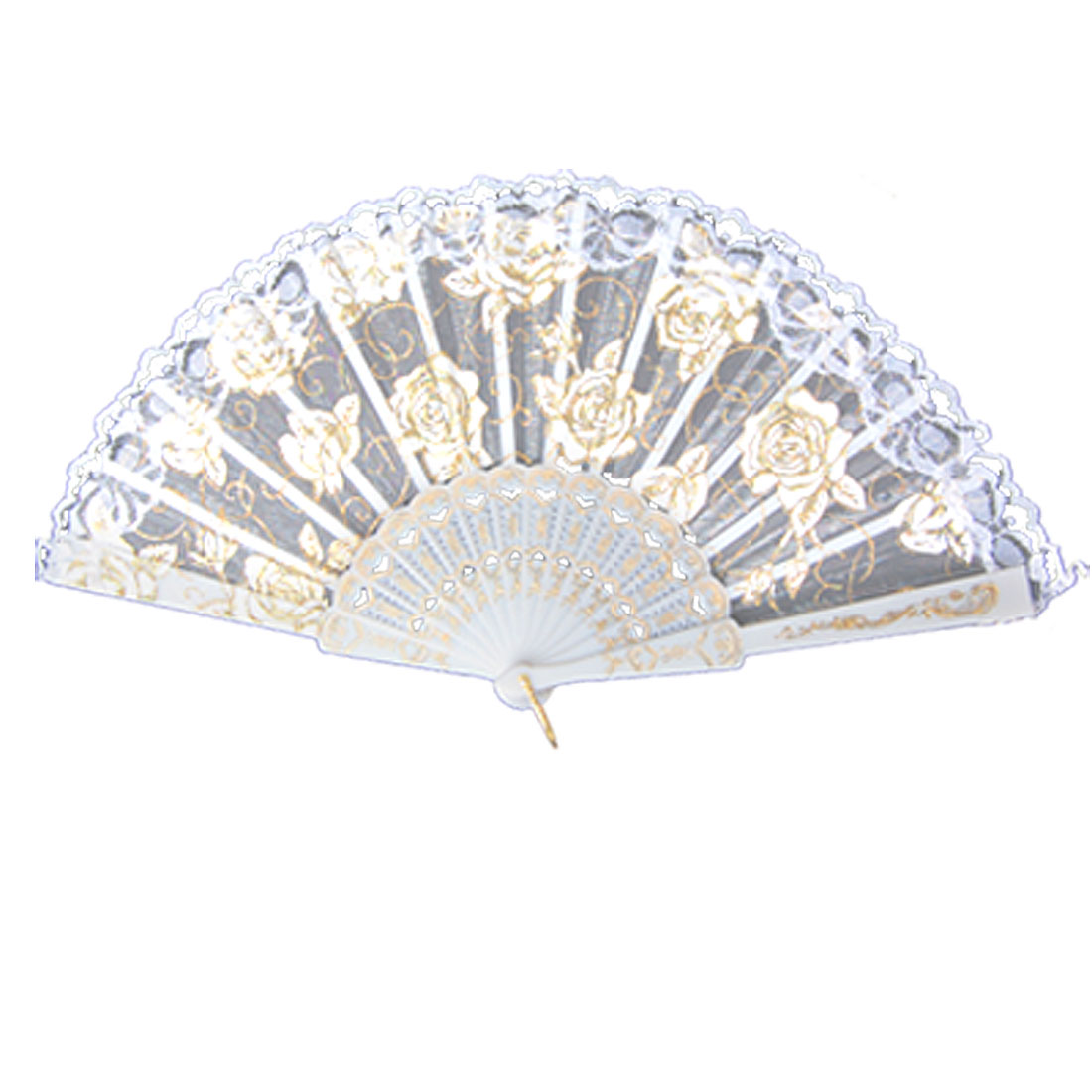 White Plastic Ribs Rose Printed Lacing Trim Dancing Folding Hand Fan