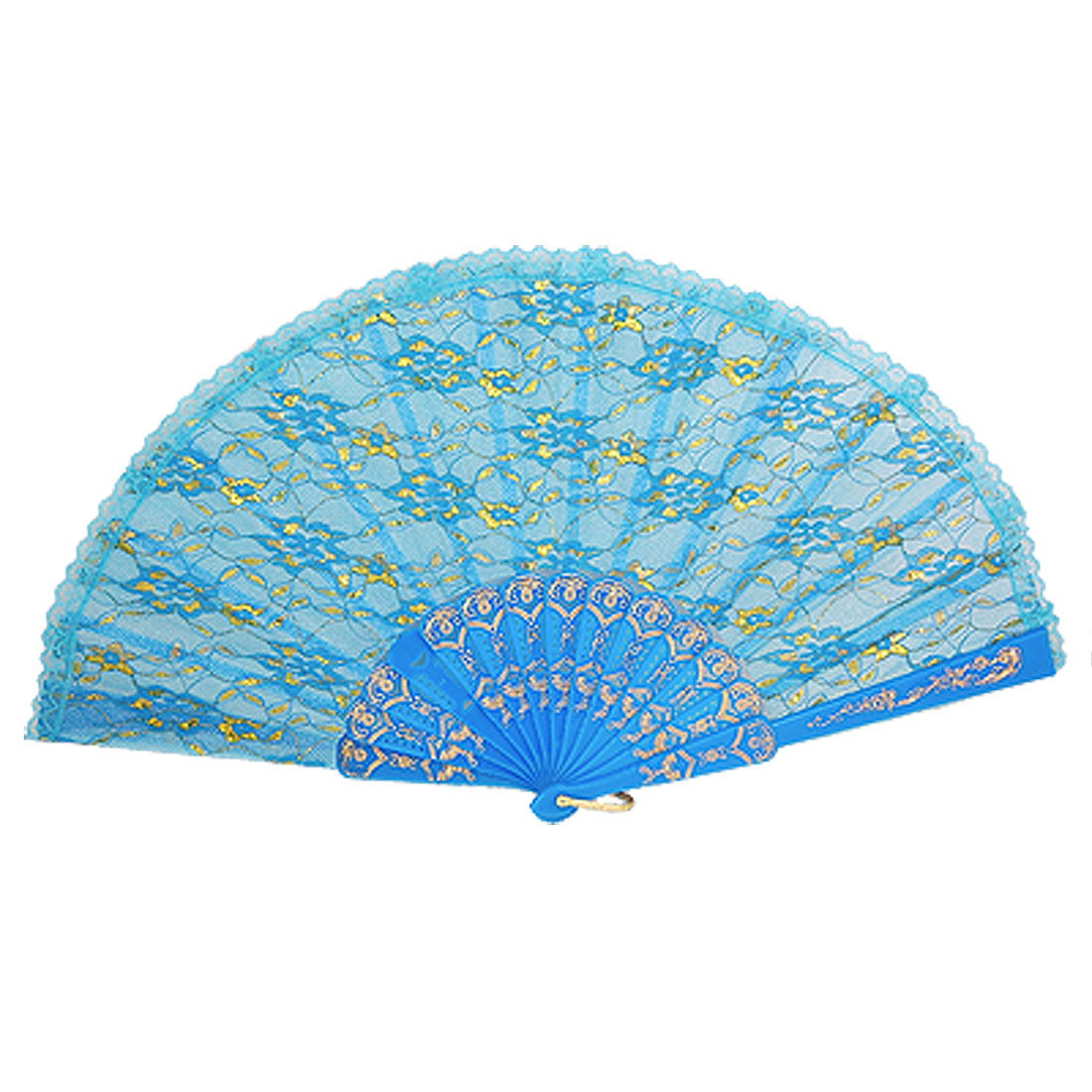Floral Printed Plastic Frame Metallic Thread Dancing Fan Gold Tone Blue