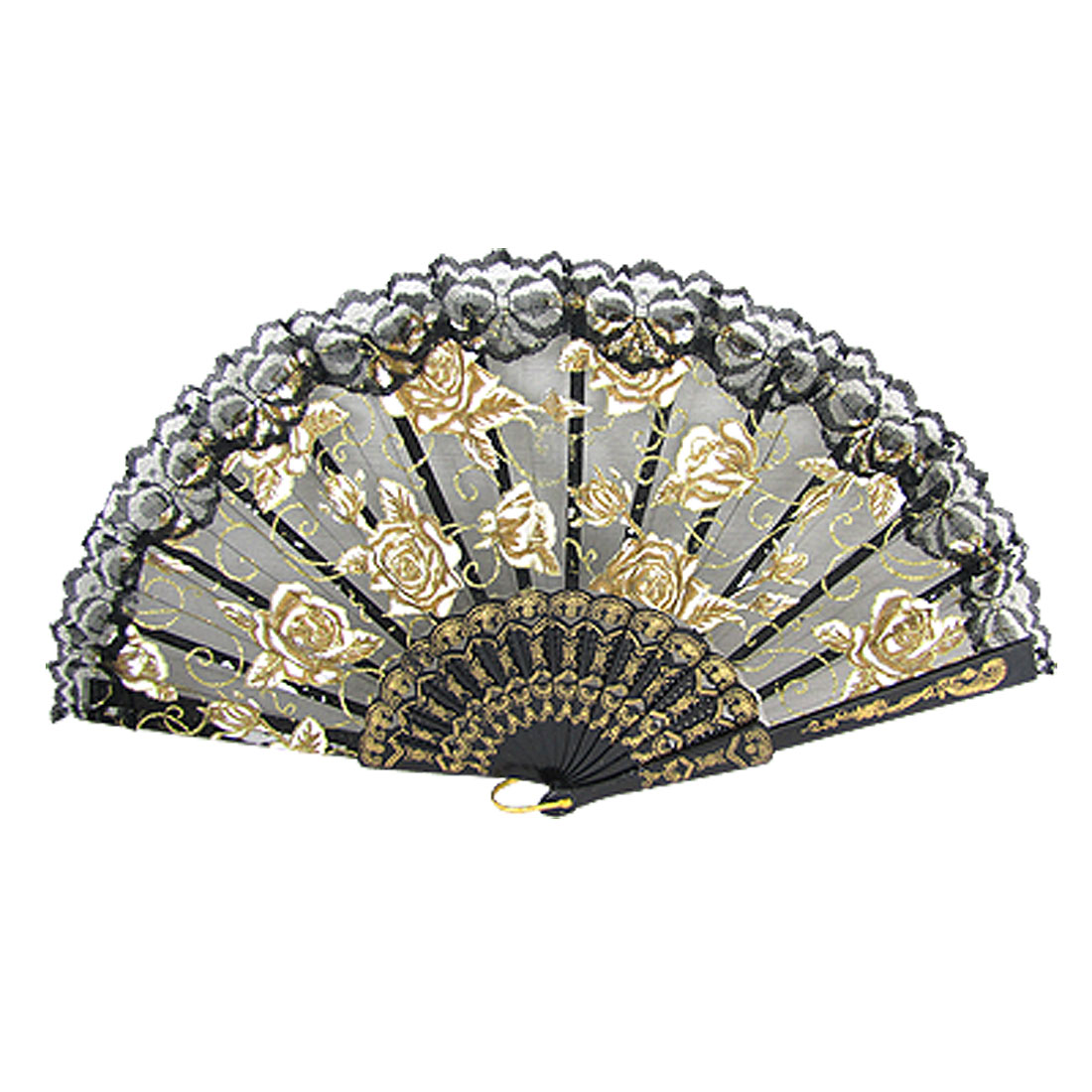 Folding Gold Tone White Rose Pattern Cut Out Plastic Ribs Black Hand Fan