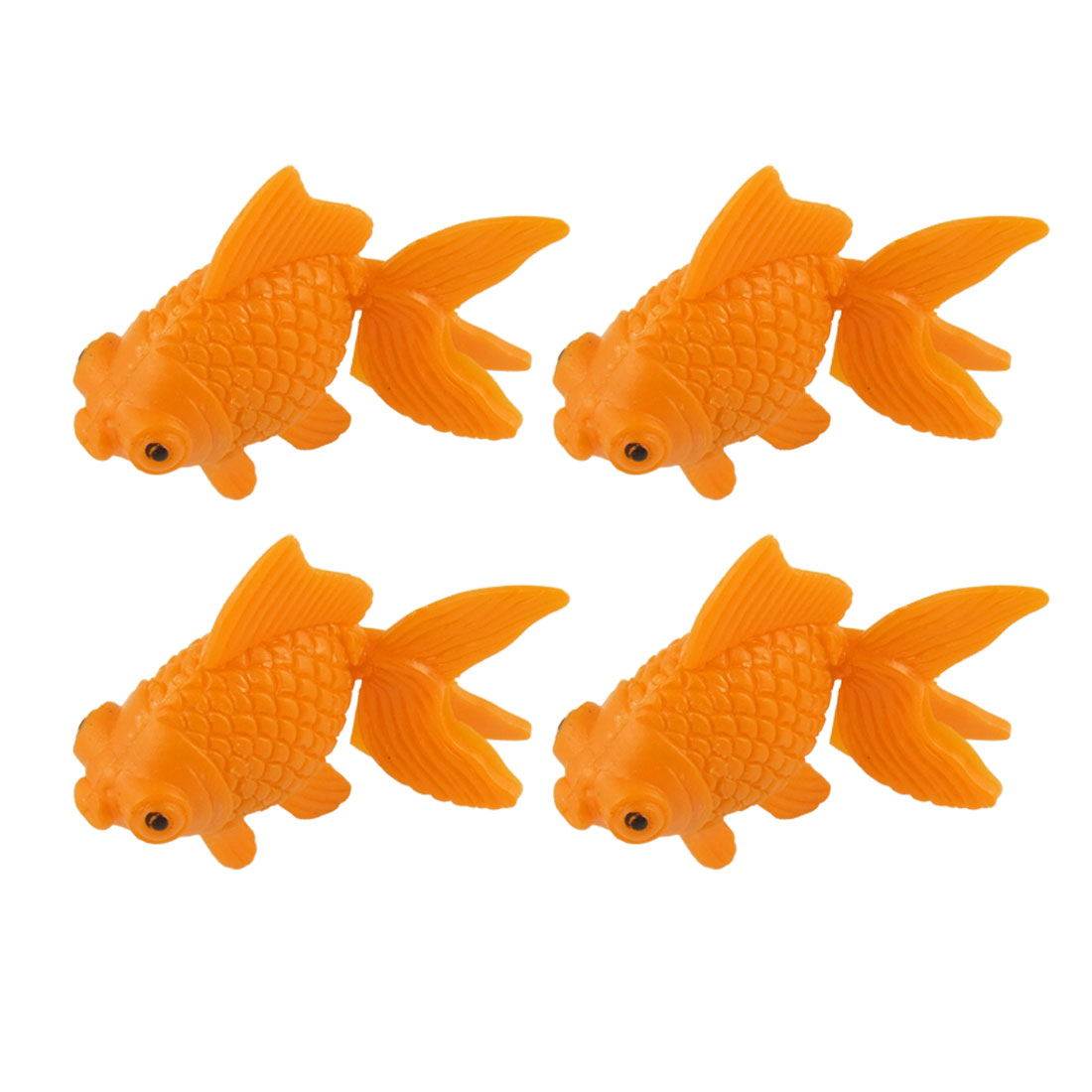 Orange Plastic Carp Fish Decor 4 Pcs for Aquarium Tank
