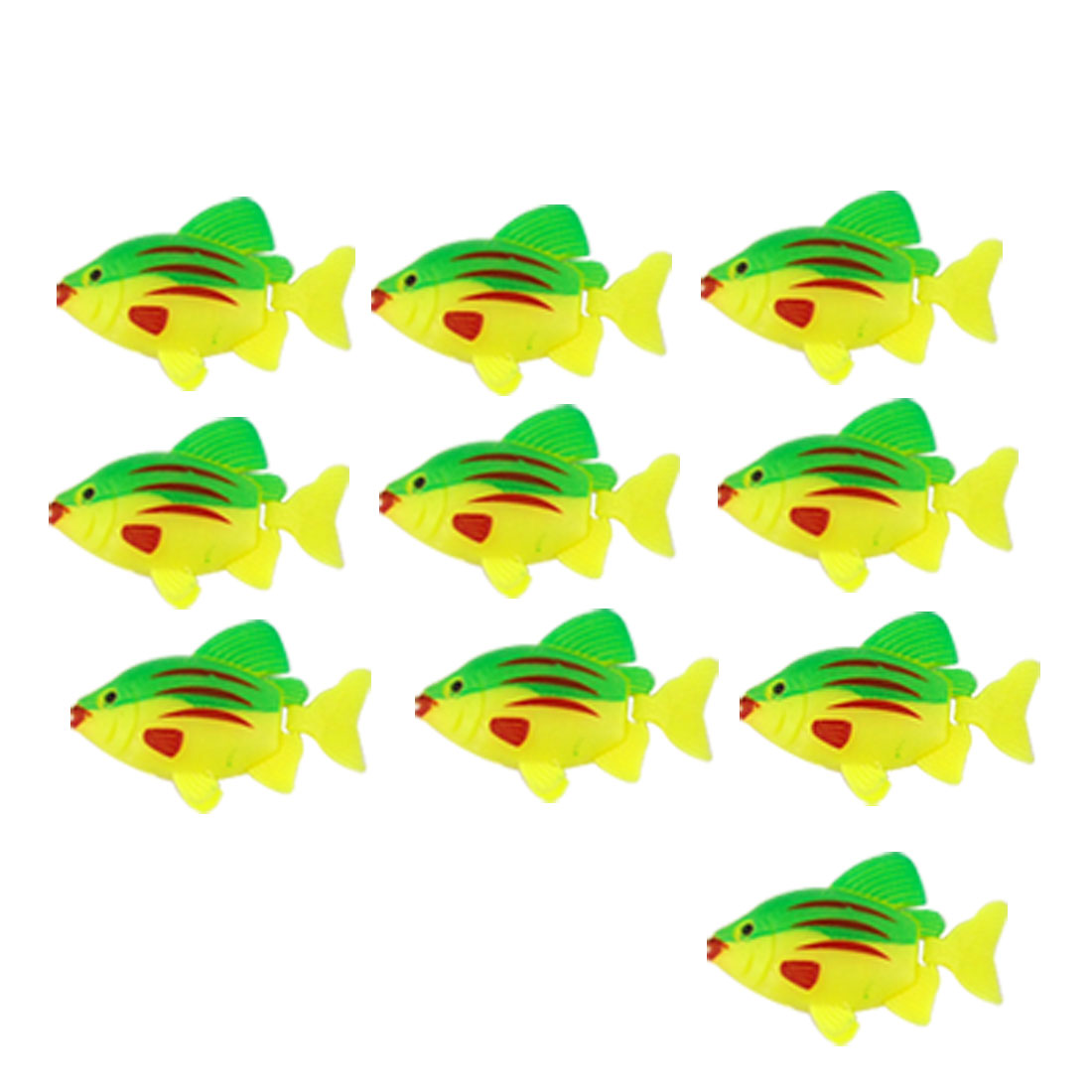 Aquarium 10 Pcs Artificial Yellow Green Plastic Fish Decor