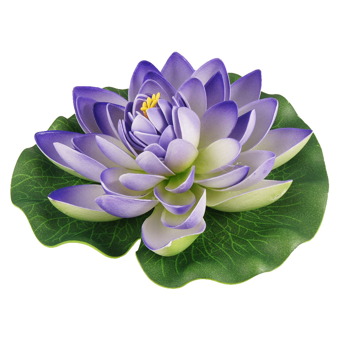 "Aquarium Fish Tank Ornament 7"" Diameter Foam Lotus Purple Green"