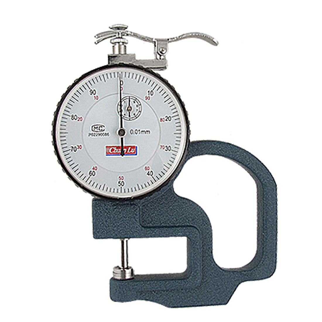 0-10mm Round Dial Teal Metal Handle Thickness Gauge Measuring Tool