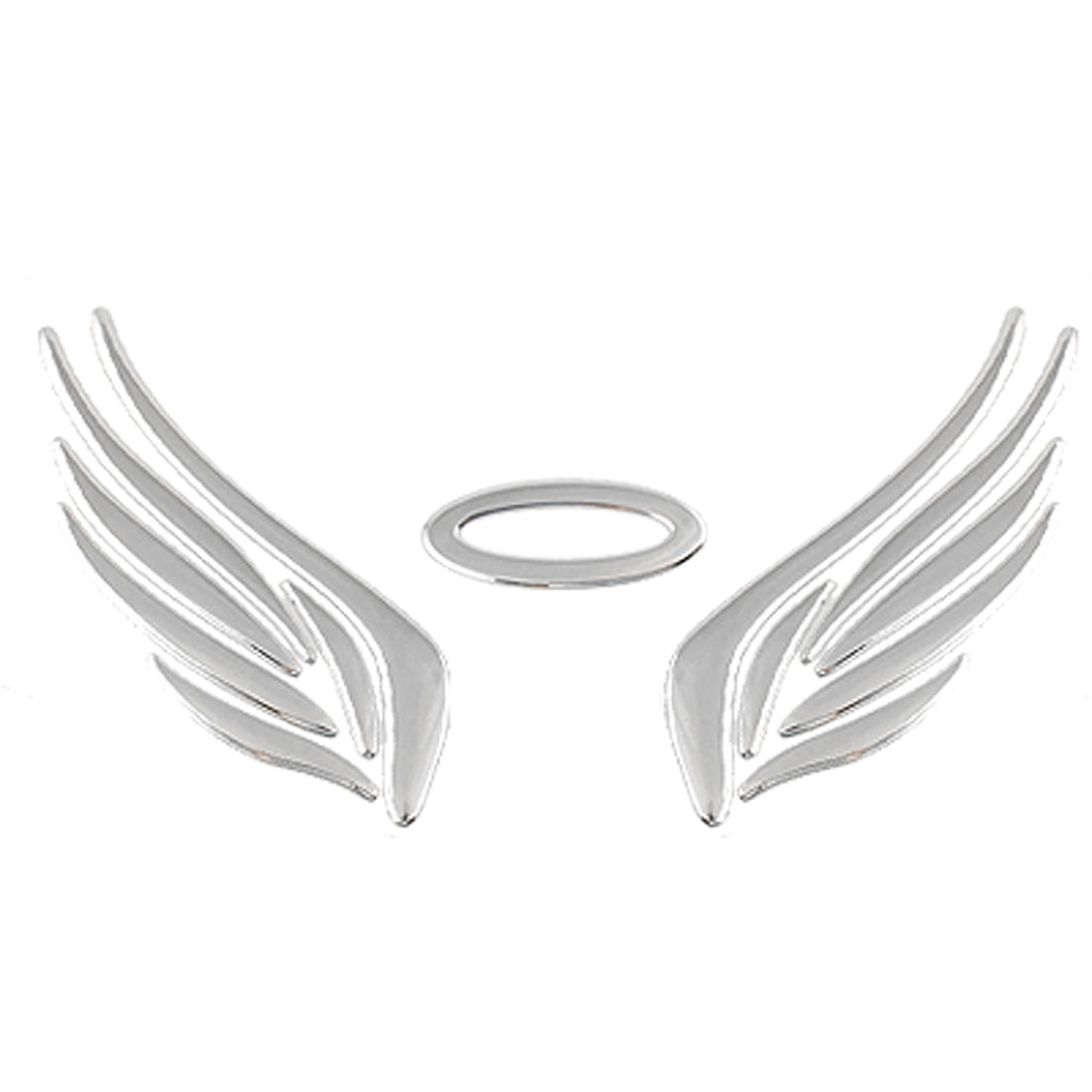 Auto Car Plastic Swing Shape Emblem Decor Sticker Silver Tone
