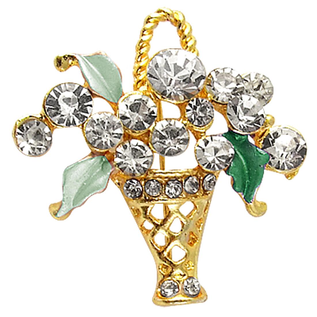 Teal Leaf Floral Rhinestone Inlay Metal Pin Brooch Gift