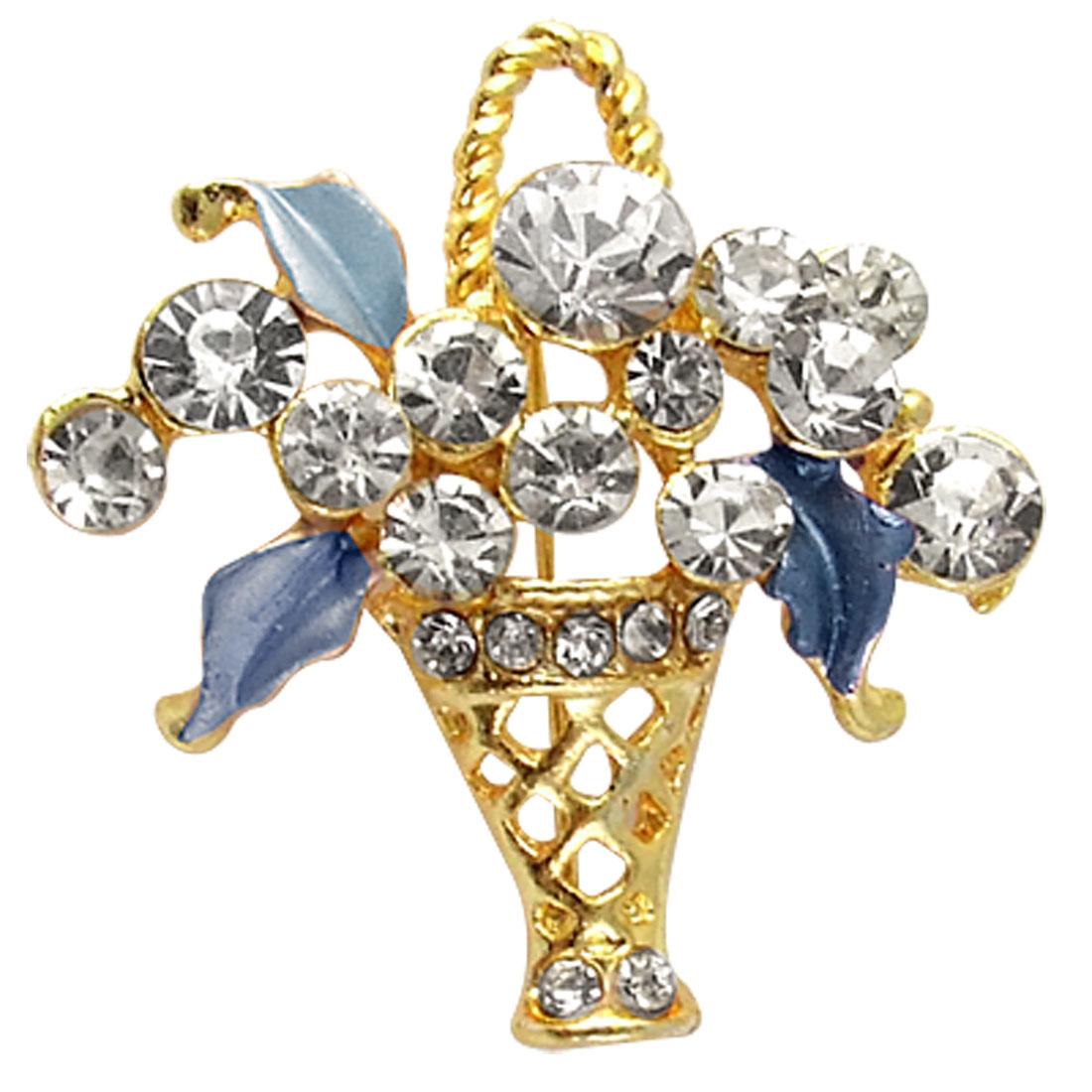 Handmade Pale Blue Floral Basket Metal Safety Pin Brooch