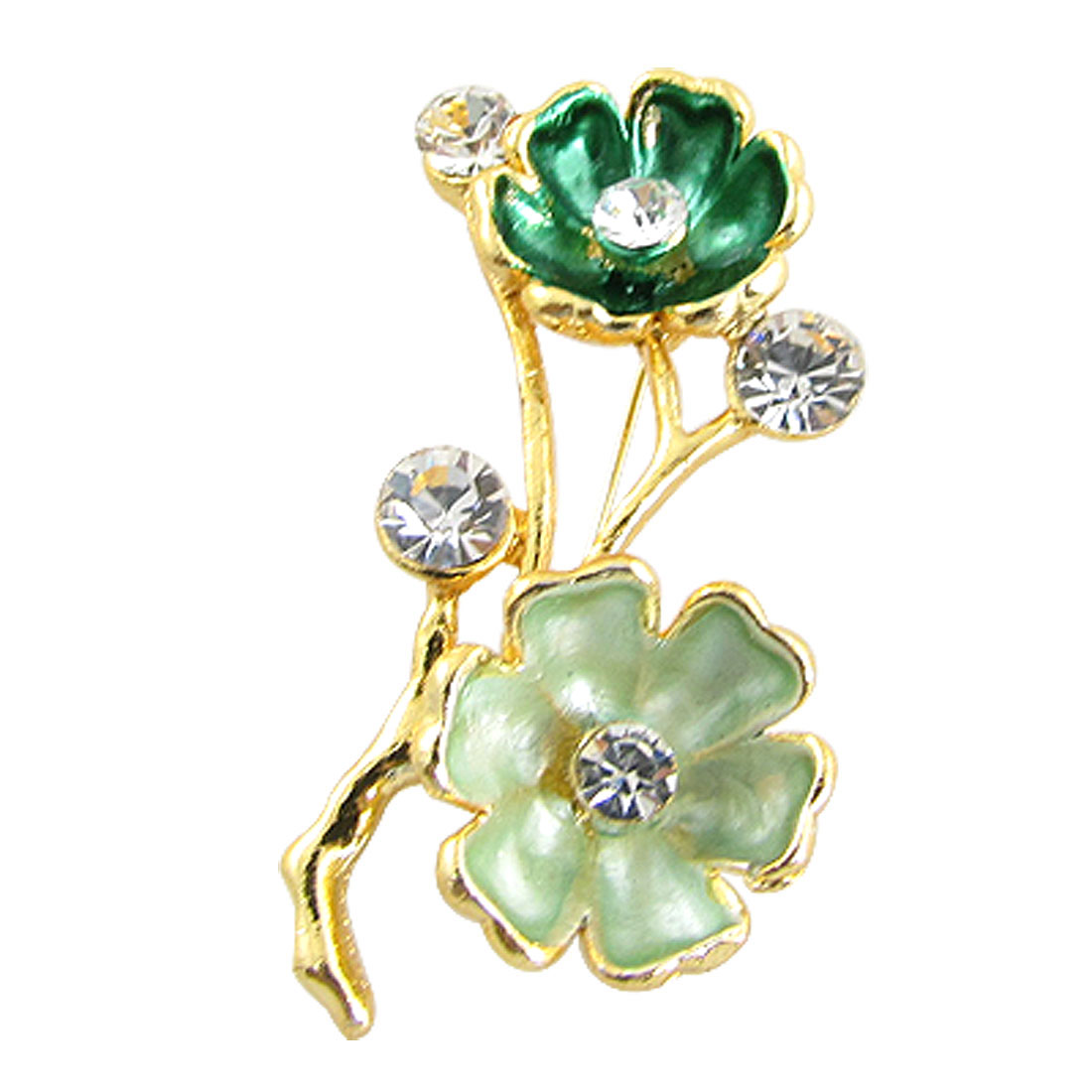 Two Tone Green Plum Blossom Gold Tone Metal Pin Brooch