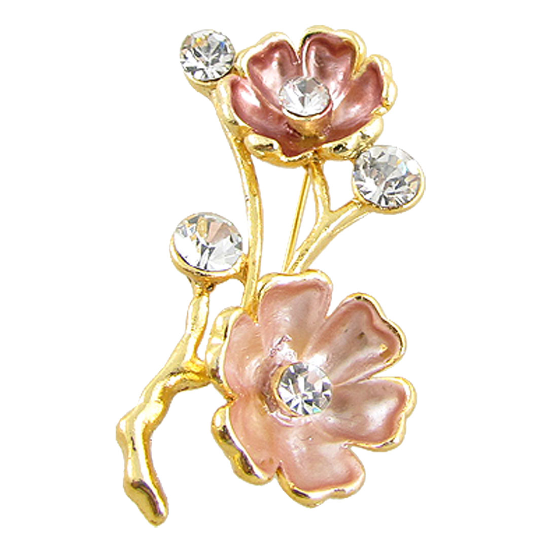 Lady Gold Tone Metal Plum Blossom Shape Brooch Ornament