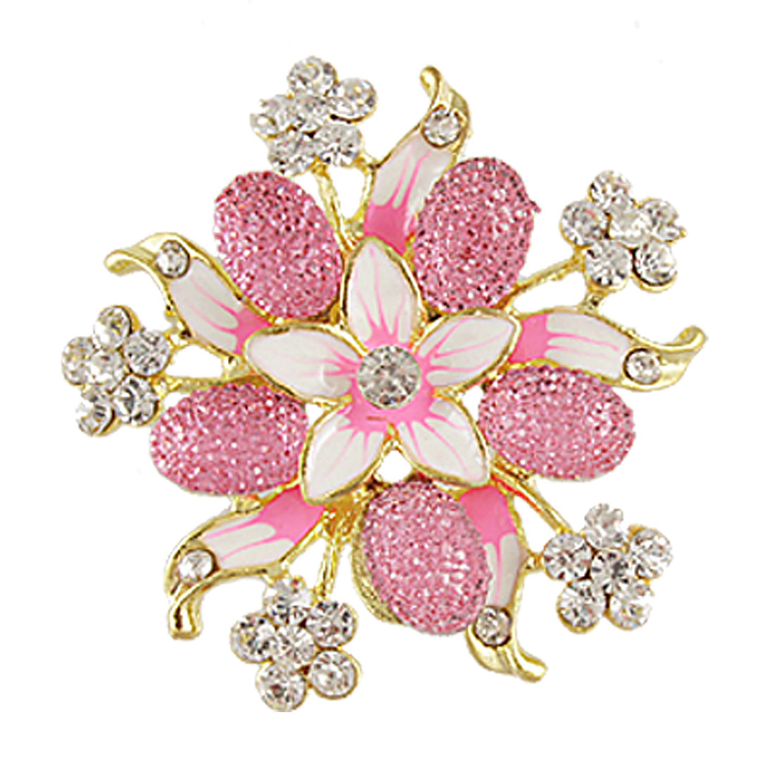 Glittery Rhinestone Cluster Pink Flower Shape Safety Pin Brooch for Lady