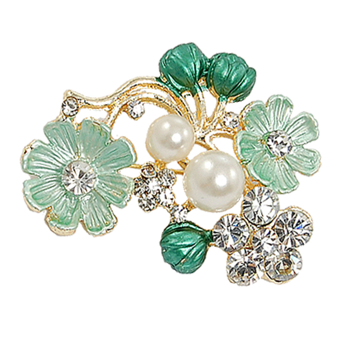 Glittery Rhinestone White Faux Pearl Cluster Green Flower Pin Brooch