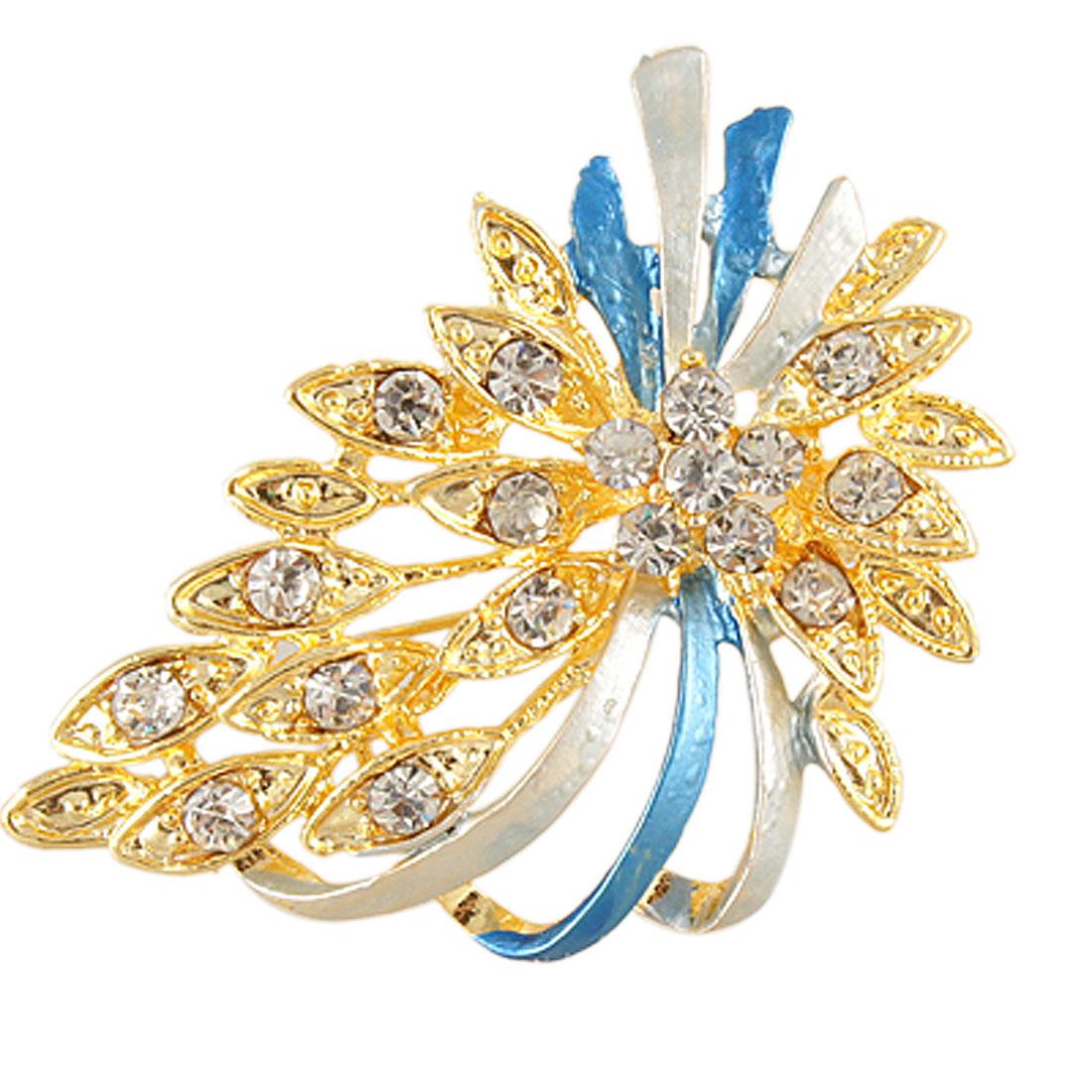 Rhinestone Accent Flower Leaf Shape Blue Strap Design Pin Brooch for Lady