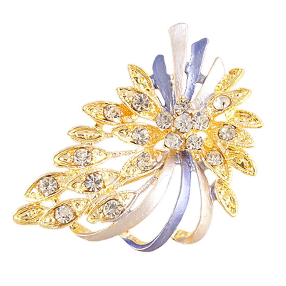 Ladies Rhinestone Inlaid Flower Gold Tone Plated Leaf Safety Pin Brooch