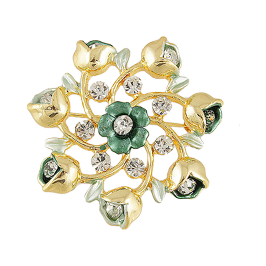 Glitter Rhinestone Inlaid Green Floral Design Safety Pin Brooch Gift