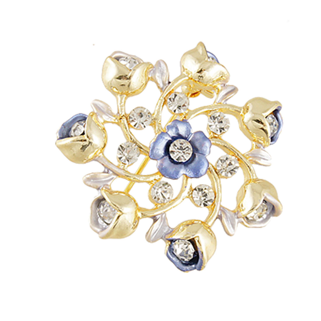 Rhinestone Inlaid Blue Flower Center Metal Pin Brooch Fashion Jewelry
